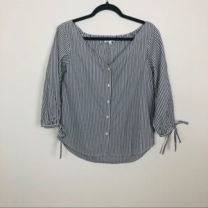 Madewell Striped off-shoulder Top